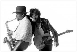 Bruce and Clarence. from Born to Run. one of my favorite pixs of them and its in black and white.