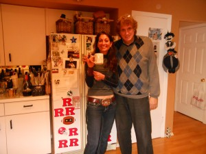 with Linda Chorney in front of a magnetized refrigerator