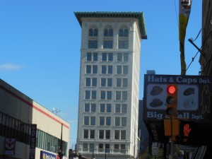 a wondrous art deco building in downtown Newark outside Hobby's deli where i ate pretty good tuna salad.