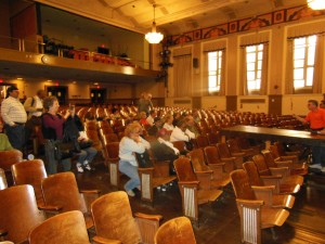 the auditorium's wooden seats from 1933.