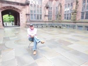 contemplating in a Princeton University courtyard.