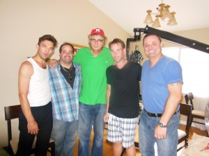on the set of film 'Words To Live By' with cast & director