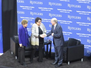 Dr. Barchi, Rutgers President greeting Justice Sotomayor and Ruth Mandel