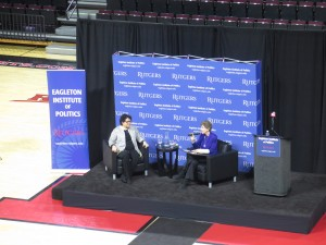on stage with questions from Ruth Mandel
